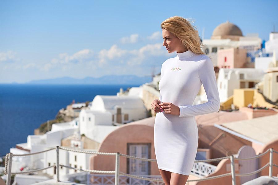 Prosto — dámské pouzdrové šaty se stojáčkem — pouzdrovky — bílé — bodycon dresses — lookbook jaro/léto 2017