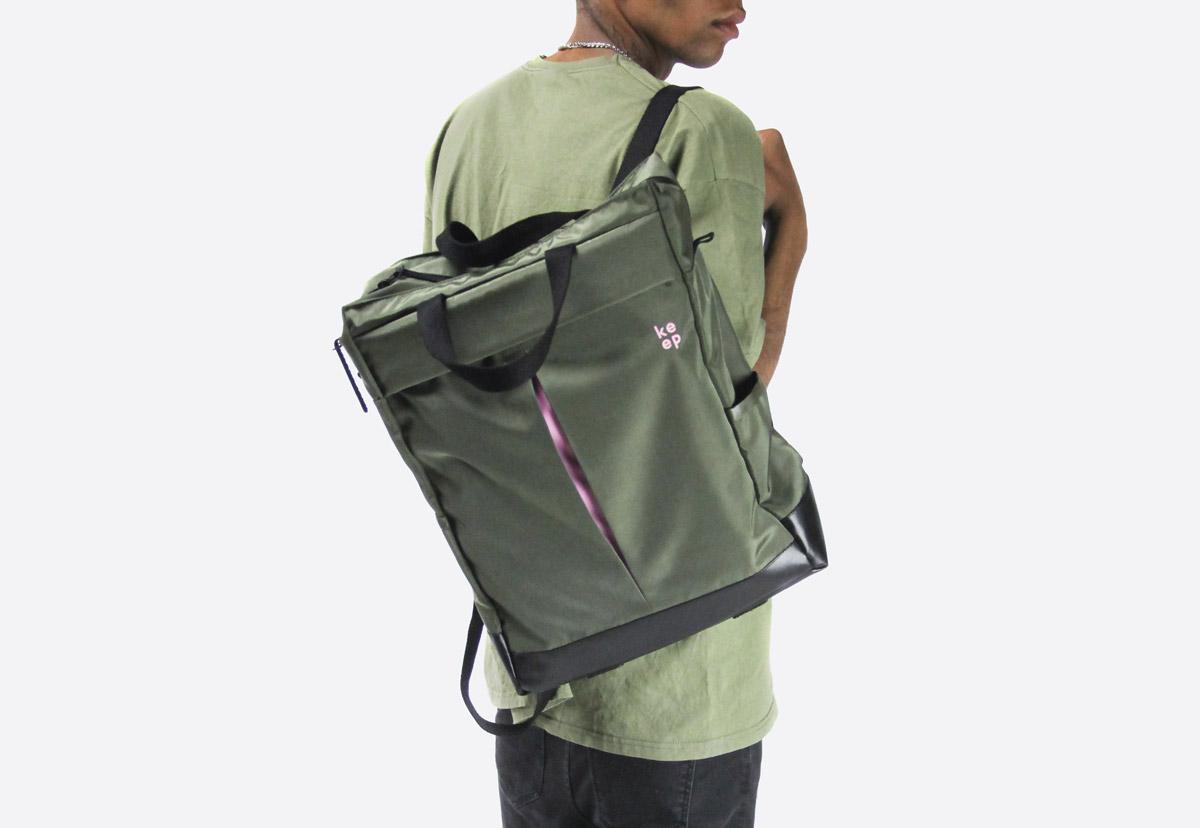 Městský batoh We Are Able Kreuzberg — olivově zelený, šedý, černý