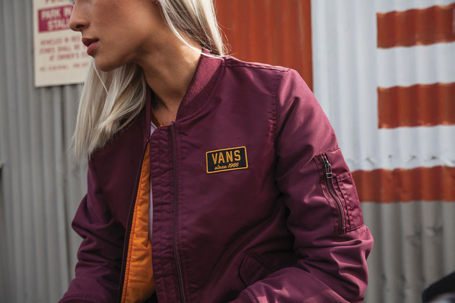 Vans Boom Boom Collection — dámský bomber — vínový — bordo bomber jacket