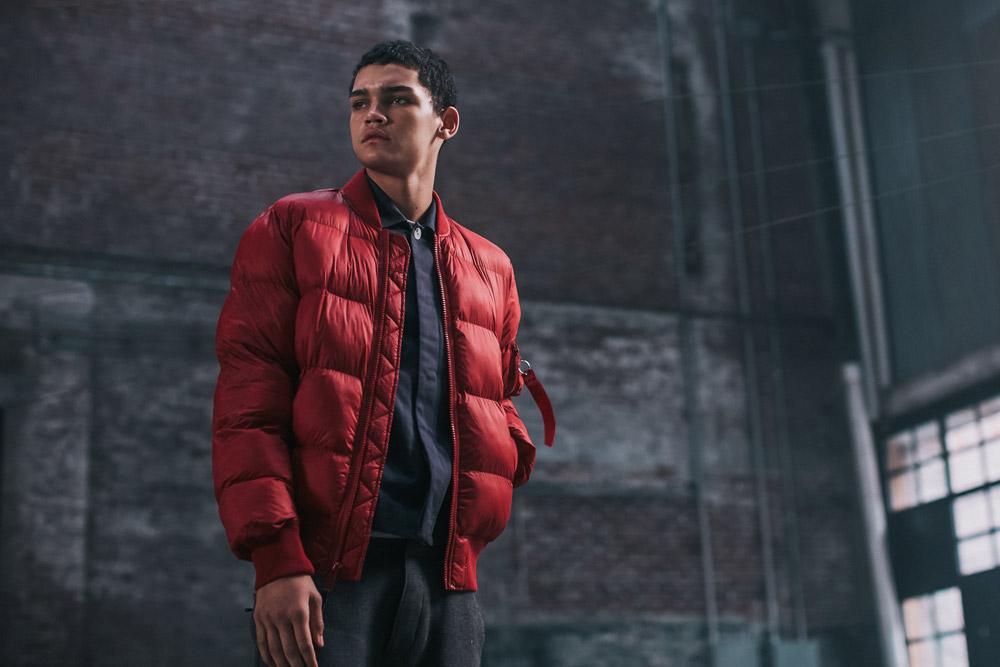 Alpha Industries — pánská prošívaná bunda do pasu — červená — zimní — red bomber jacket