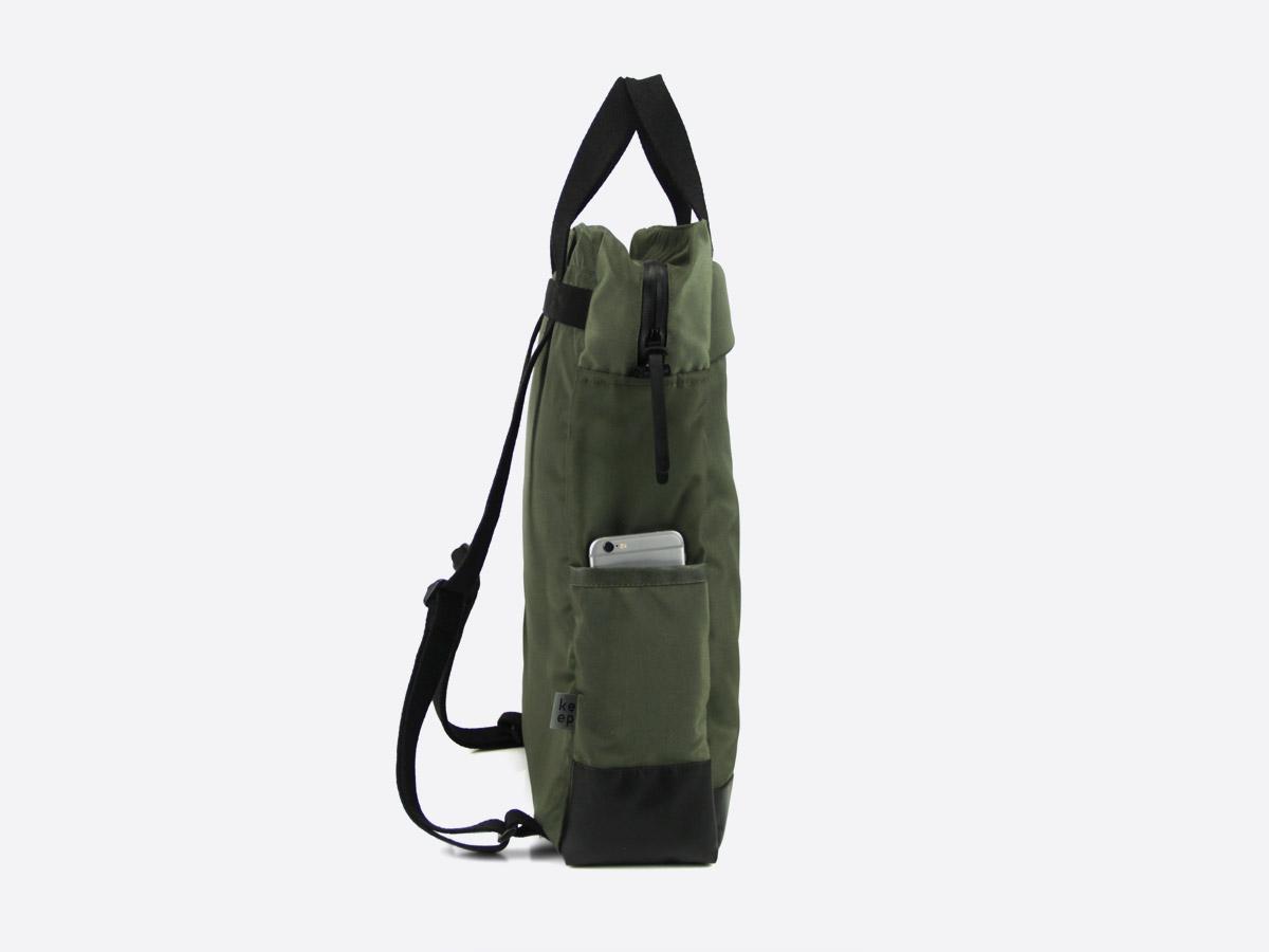 We Are Able — Kreuzberg Olive — batoh — nepromokavý — boční pohled