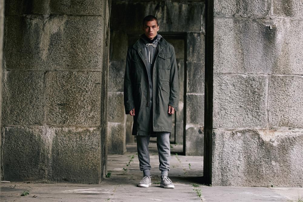 Alpha Industries — pánský podzimní dlouhý kabát — zelený — men green army coat
