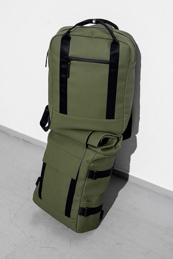 Ucon Acrobatics — olivově zelené batohy — pogumované, nepromokavé — Brandon Backpack, Ison Backpack — série Lotus