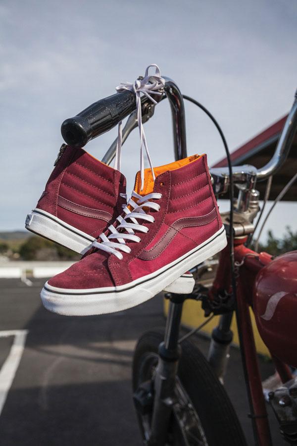 Vans Boom Boom Collection — dámské kotníkové boty — SK8-Hi Slim Zip — červené, vínové