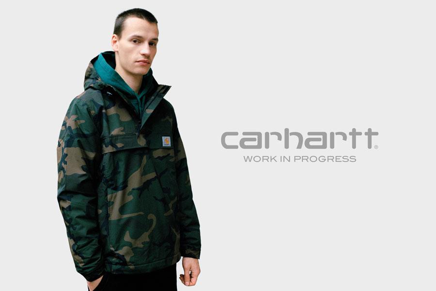Carhartt WIP maskáčová bunda bez zipu s kapucí přes hlavu — pullover — podzim/zima 2017