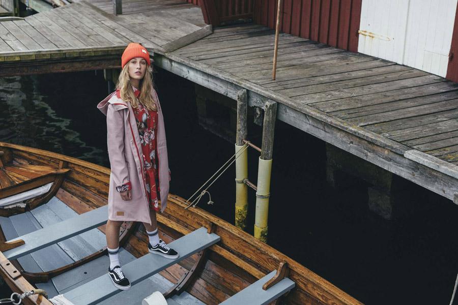 Femi Stories — dlouhá podzimní bunda s kapucí — růžová — parka — dámská