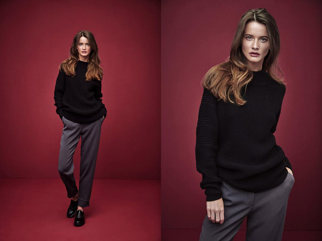 Pietro Filipi — vroubkovaný černý dámský svetr — šedé dámské kalhoty