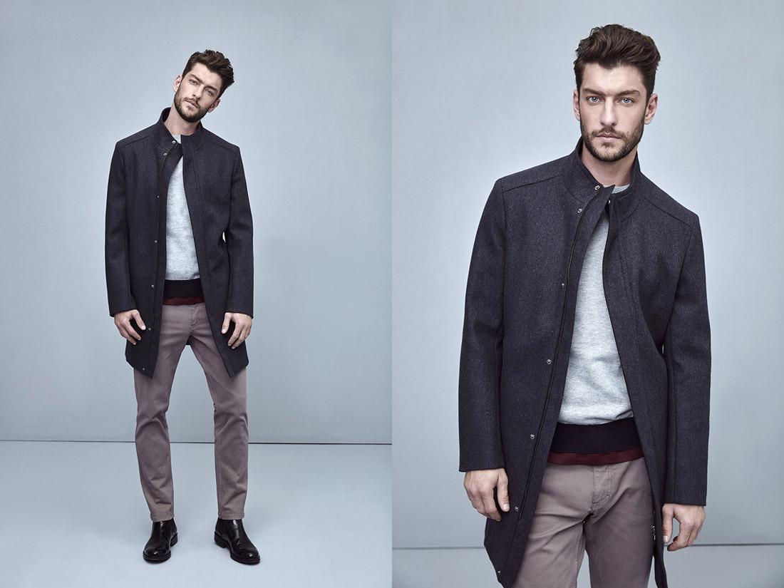Pietro Filipi — tmavě modrý pánský kabát — hnědo-šedé pánské kalhoty