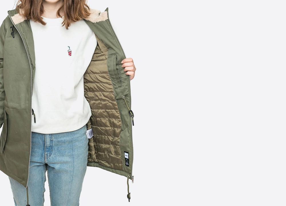 Wemoto — Ella — dámská zimní bunda s kapucí s kožíškem — parka — zelená olivová — olive green winter women's hooded jacket — podzim/zima 2017