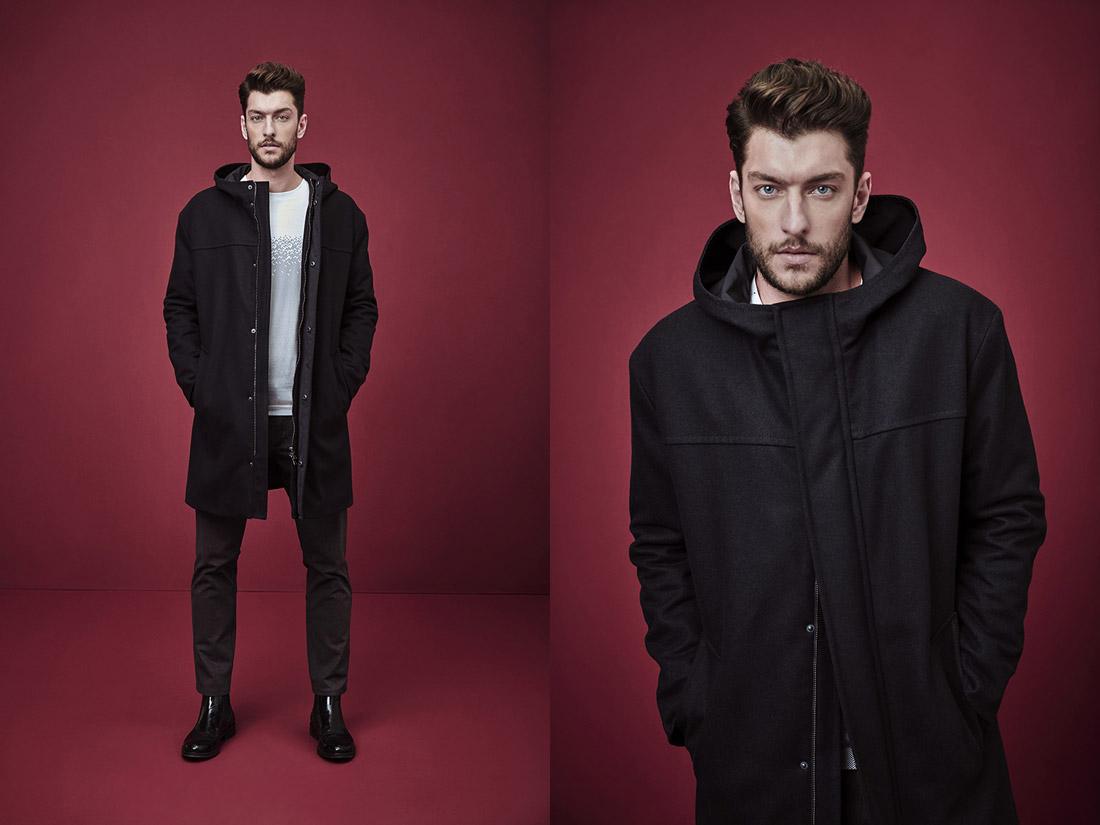 Pietro Filipi — pánský černý kabát s kapucí — pánské tmavě šedé kalhoty