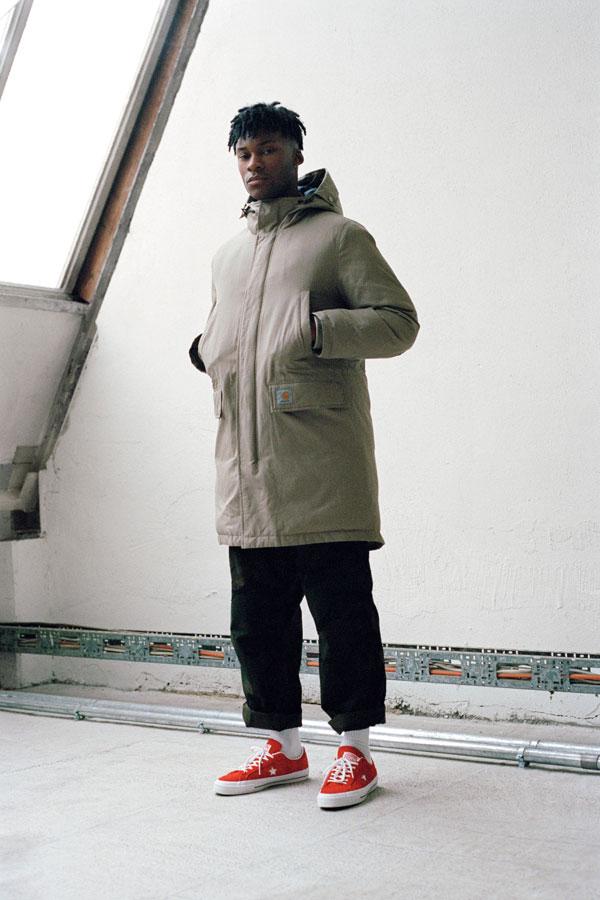 Carhartt WIP panská dlouhá parka — zimní bunda s kapucí — šedá — podzim/zima 2017