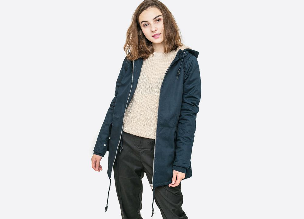 Wemoto — Ella — dámská zimní bunda s kapucí s kožíškem — parka — tmavě modrá námořnická — dark navy blue winter hooded women's jacket — podzim/zima 2017