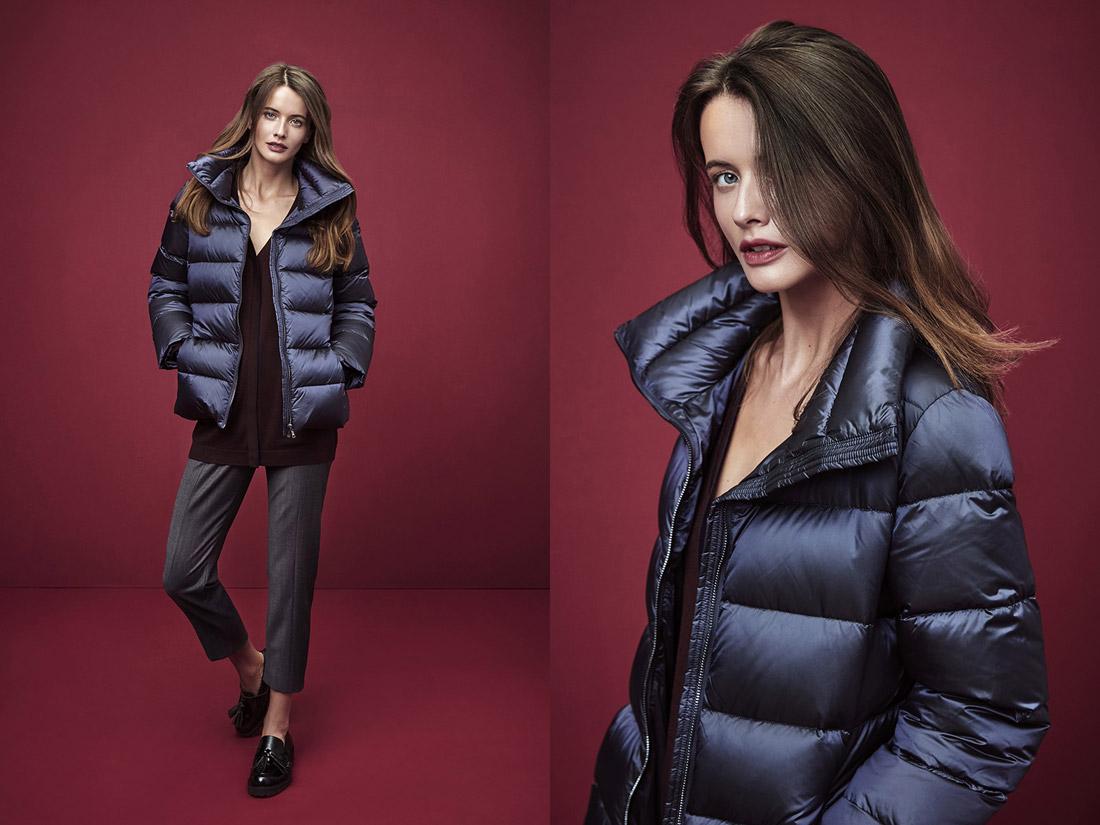Pietro Filipi — dámská modrá lesklá prošívaná zimní bunda — šedé kalhoty nad kotníky