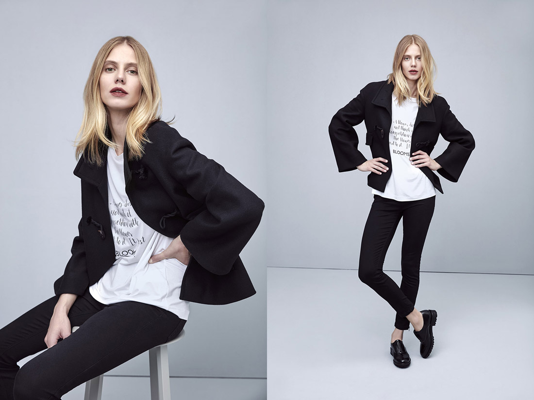 Pietro Filipi — krátký černý dámský podzimní kabát — dámské černé skinny fit kalhoty