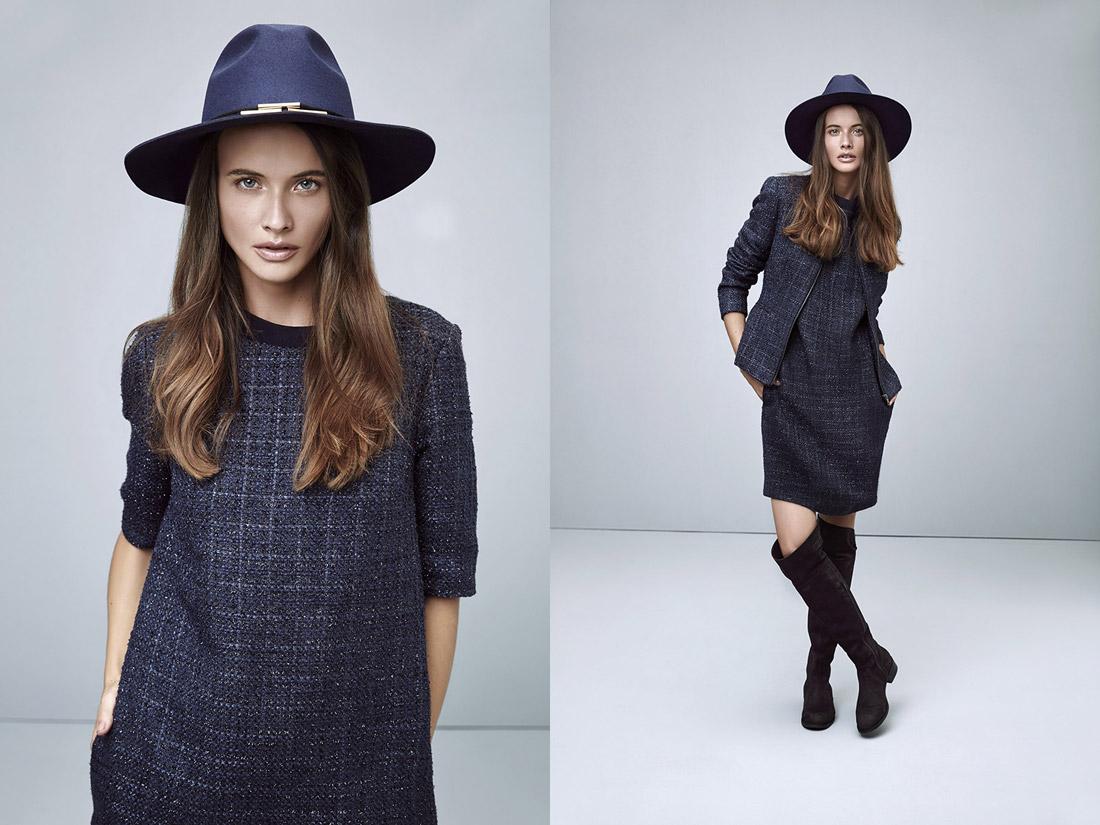 Pietro Filipi — modré podzimní/zimní šaty — podzimní modré dámské sako — dámský modrý klobouk Fedora