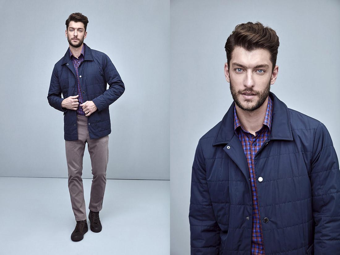 Pietro Filipi — pánská modrá podzimní prošívaná bunda — pánské šedé kalhoty