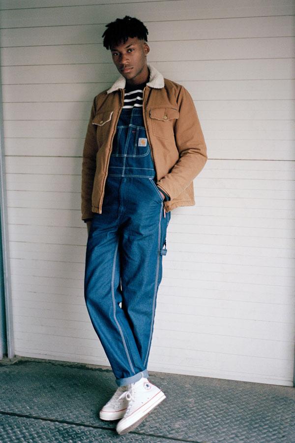 Carhartt WIP panské lacláče — overal — hnědá zateplená bavlněná bunda — podzim/zima 2017