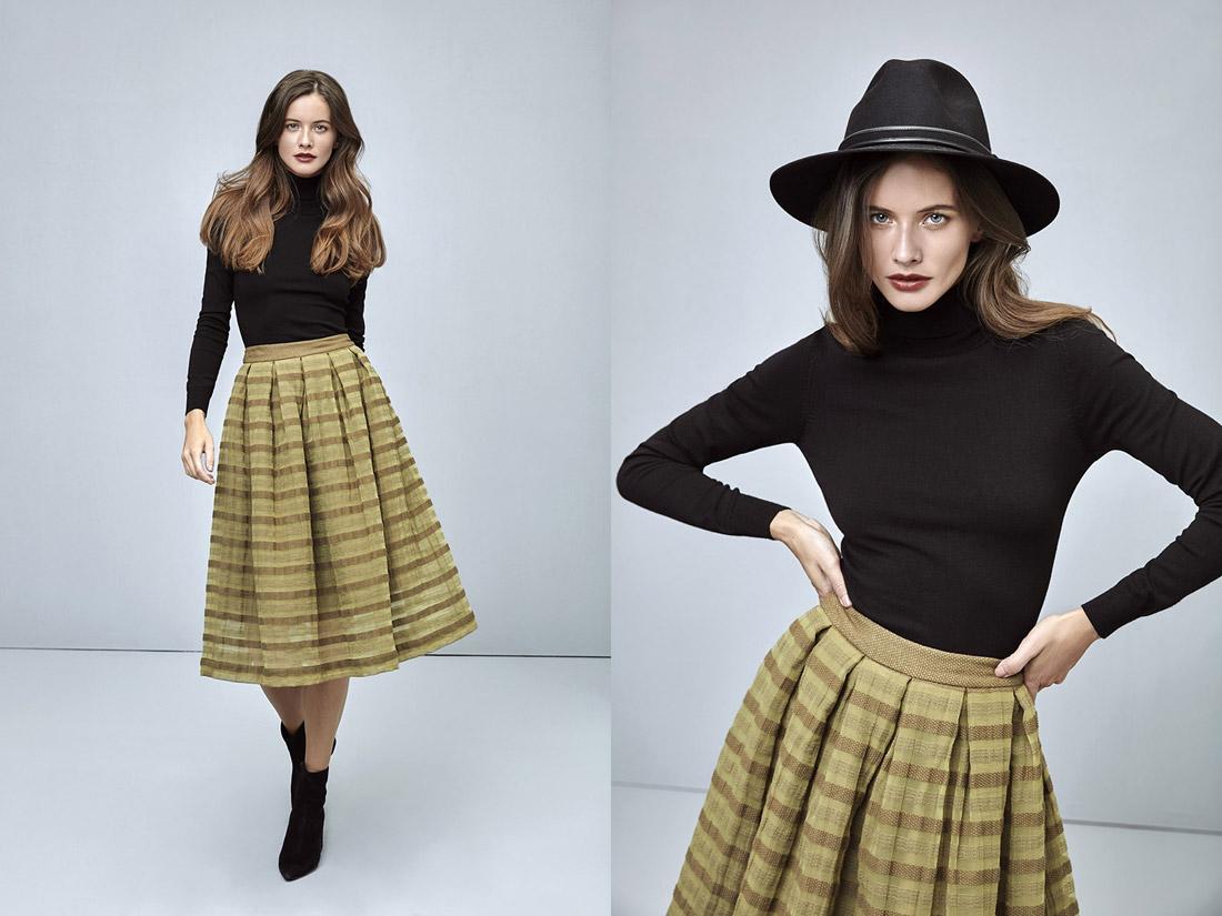Pietro Filipi — hnědo-žlutá sukně pod kolena — dámský černý svetr se stojáčkem — rolák