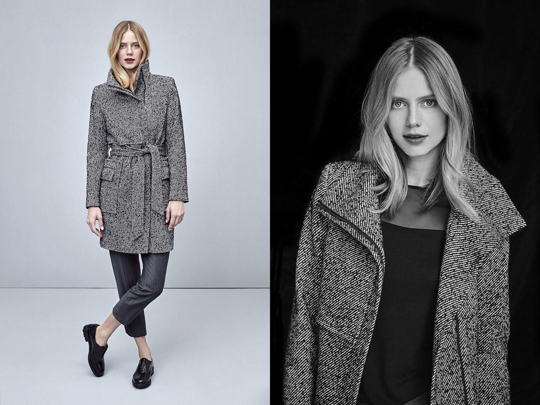 Pietro Filipi — dámský podzimní kabát — černo-bílý