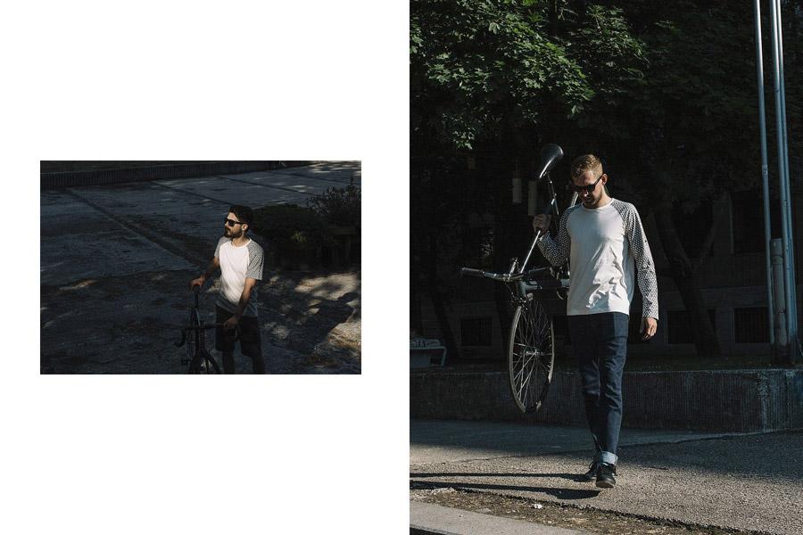 Isadore Apparel — cyklistické tričko s dlouhým i krátkým rukávem — bavlněné — bílé — pánské — oblečení pro městskou cyklistiku — urban cycling apparel — white tshirt