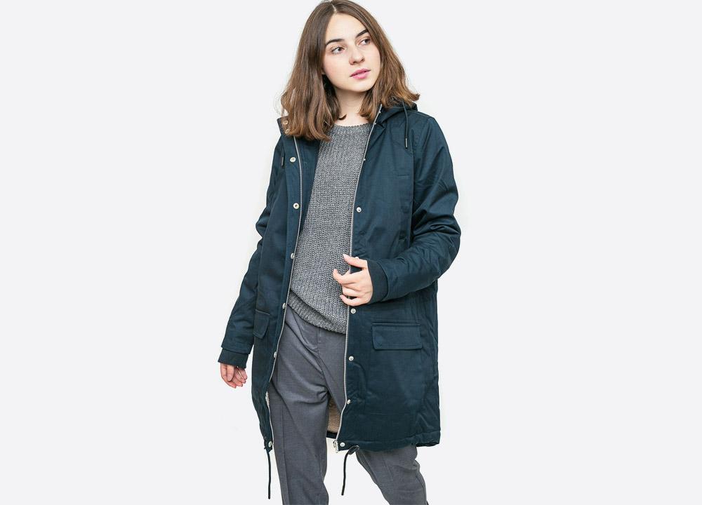 Wemoto — Ariel — dlouhá dámská zimní bunda s kožíškem a kapucí — zateplená fishtail parka — tmavě modrá námořnická — dark navy blue winter hooded women's jacket — podzim/zima 2017