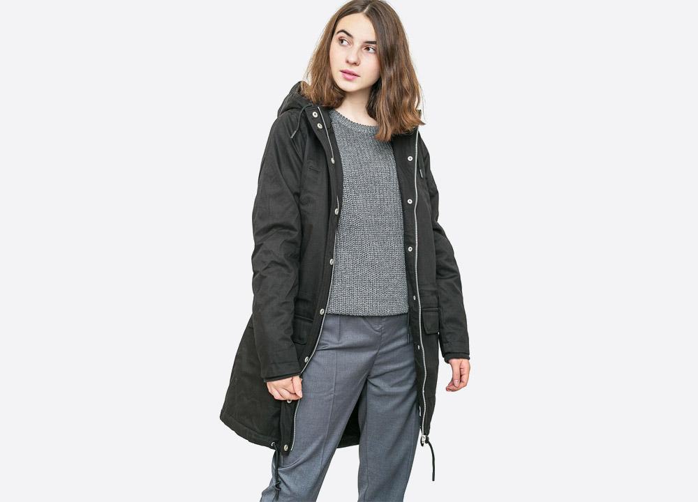 Wemoto — Ariel — dlouhá dámská zimní bunda s kožíškem a kapucí — zateplená fishtail parka — černá — black winter hooded women's jacket — podzim/zima 2017