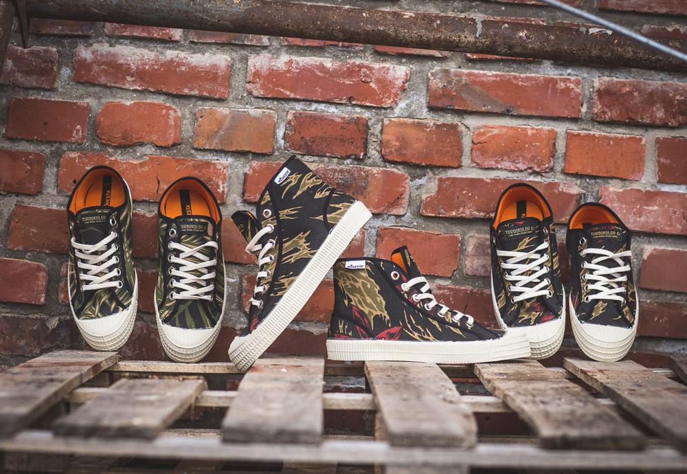Turbokolor x Novesta — plátěné tenisky — boty — kotníkové, nízké — pánské, dámské — maskáčové — černé — zelené