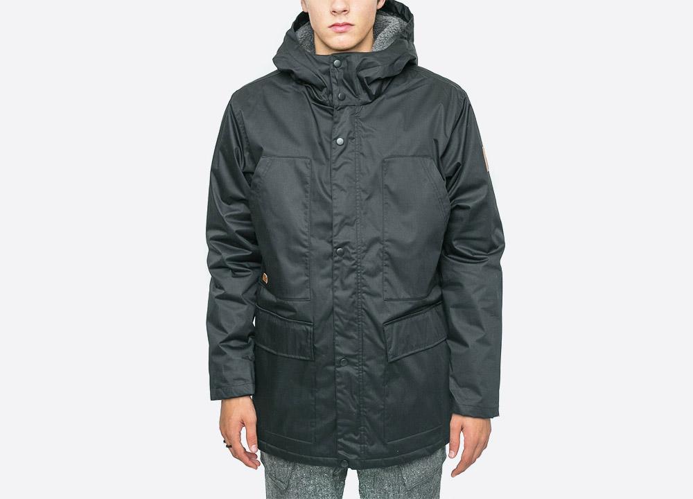 Makia — Field — pánská zimní bunda s kapucí — černá — black men's hooded winter jacket