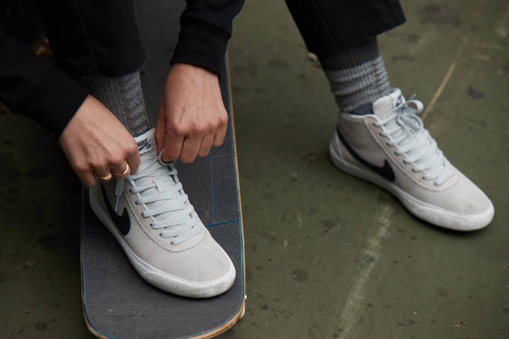 Nike SB Bruin High Womens — skate boty — dámské — kotníkové tenisky — skejt — sneakers — šedé