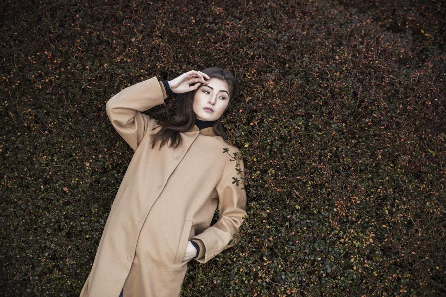 Selfhood — dámský kabát — béžový, hnědý, pískový — podzimní/zimní — women's beige coat