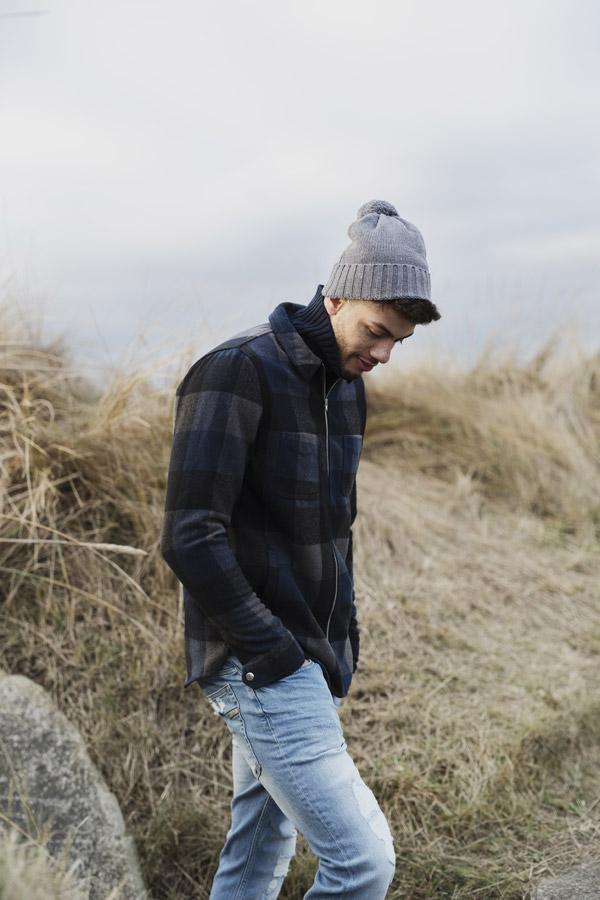 RVLT — pánská podzimní kostkovaná bunda — modrá, černá — men's fall chequered jacket — Revolution