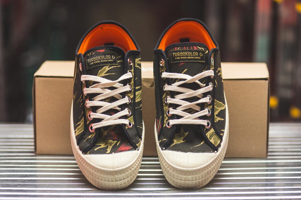Turbokolor x Novesta — Star Master Low — plátěné tenisky — boty — pánské, dámské — maskáčové (camo) — černé — zelené