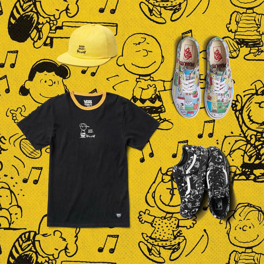 Vans x Peanuts — tenisky — Old Skool, Slip-On, Authentic — černé tričko s potiskem