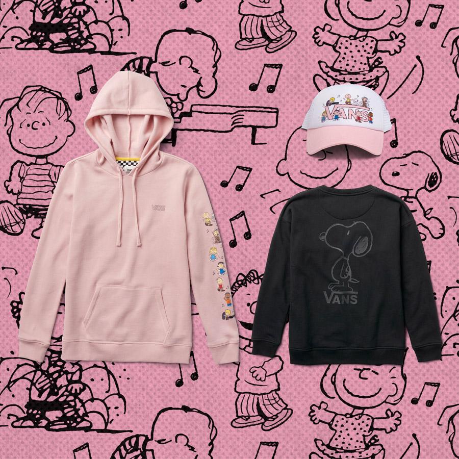 Vans x Peanuts — růžová mikina s kapucí (pullover hoodie) — Snoopy černá mikina bez kapuce (sweatshirt) — růžovo-bílá kšiltovka (trucker cap)