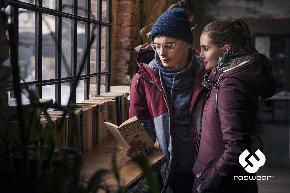Ragwear — červeno-šedá pánská zimní bunda s kapucí — vínová zimní bunda s kapucí — parka — women's and men's winter jakckets — podzim/zima 2017