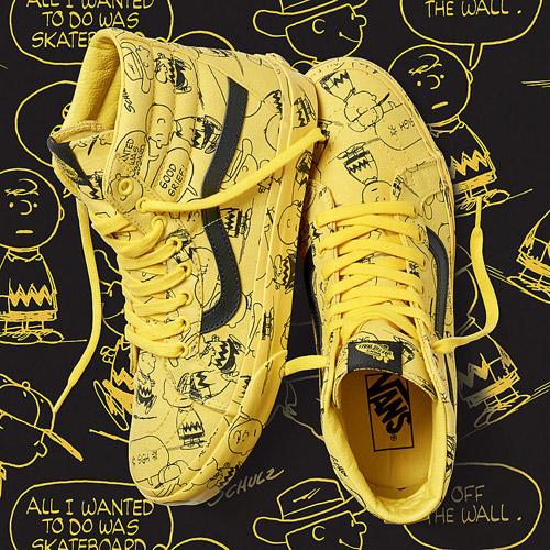 Vans x Peanuts — SK8-Hi Reissue — žluté kotníkové boty s ilustracemi — tenisky — sneakers
