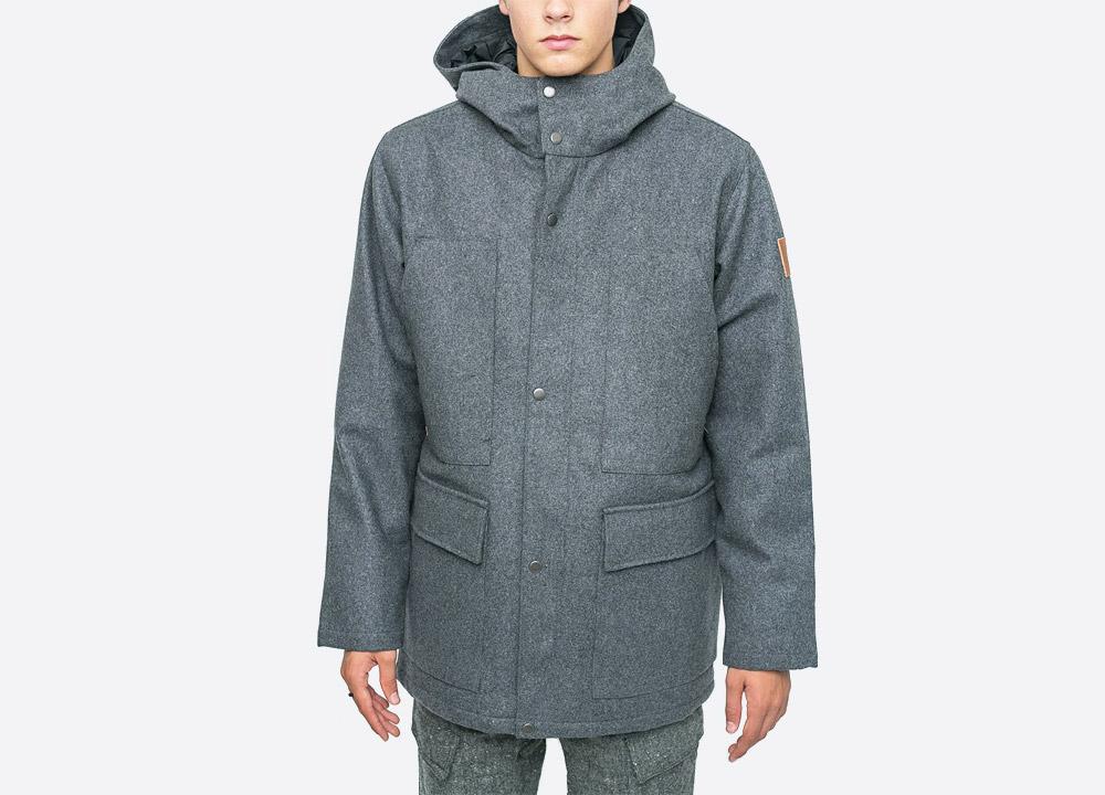 Makia — Field — pánská vlněná zimní bunda s kapucí — šedá — grey men's hooded winter jacket