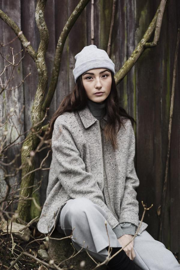 Selfhood — dámská podzimní bunda — šedá, melírová — women's light pink winter jacket