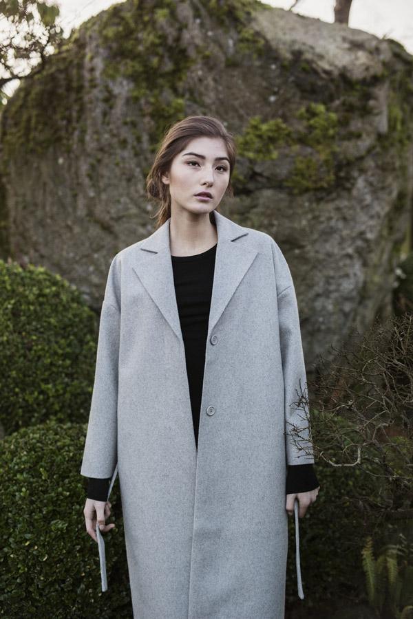 Selfhood — dámský vlněný kabát — šedý — podzimní/zimní — women's grey coat