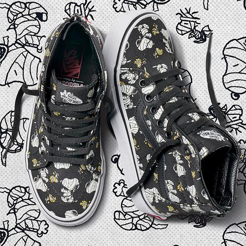 Vans x Peanuts — SK8-Hi Reissue — černé kotníkové boty s ilustracemi — tenisky — sneakers — Snoopy