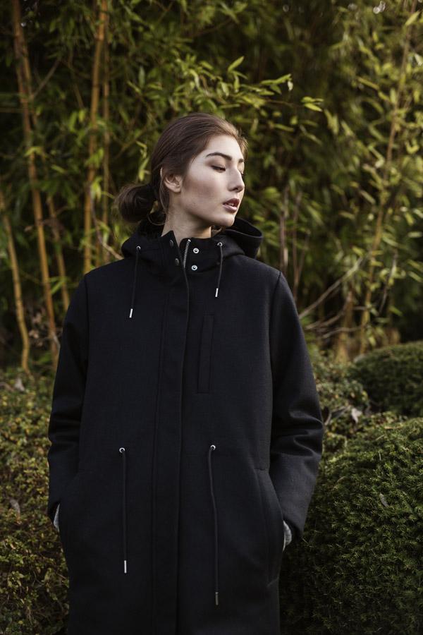 Selfhood — dámský černý kabát s kapucí — černá bunda, parka — podzimní/zimní — women's black coat, jacket, parka