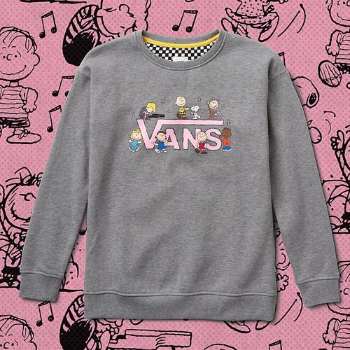 Vans x Peanuts — černá mikina bez kapuce — black sweatshirt — Snoopy