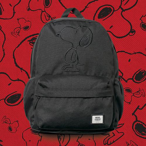 Vans x Peanuts — černý batoh — Snoopy black backpack