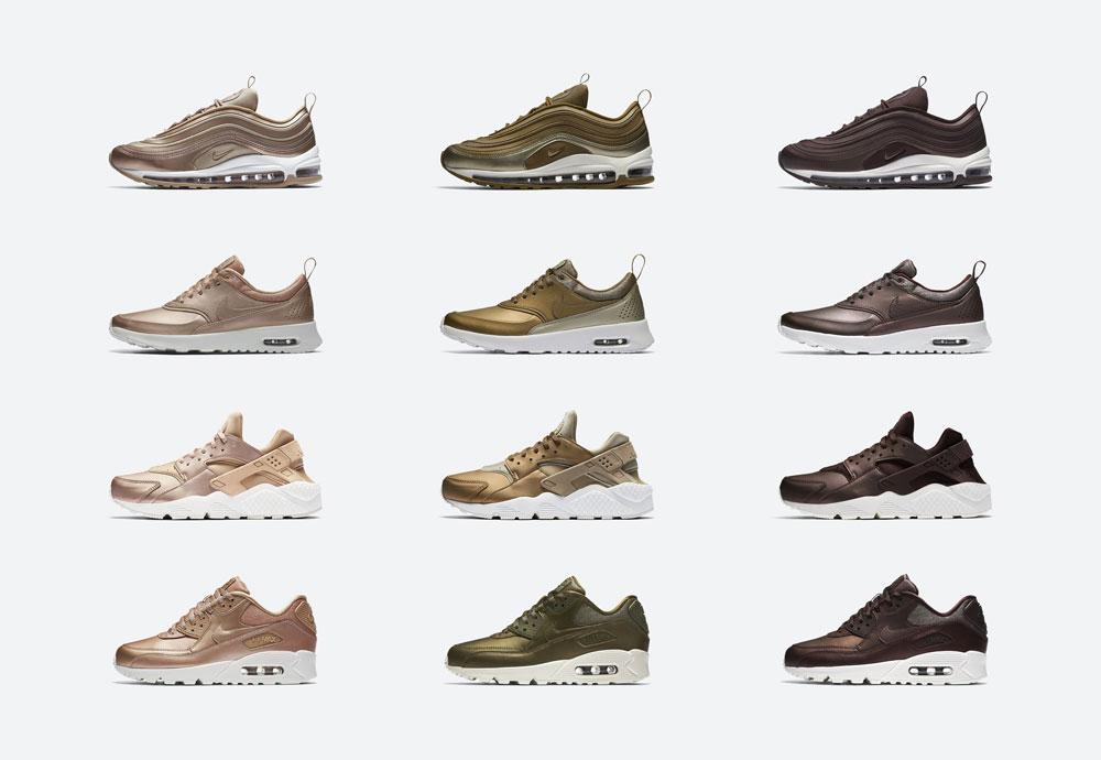 Dámské tenisky Nike Air — metalické — bronzové, zelené, hnědé