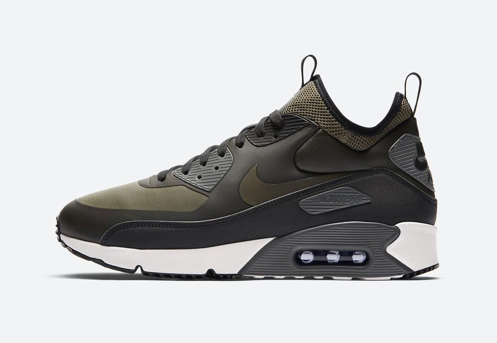 Nike Air Max 90 Ultra Mid Winter — zimní boty — olivově zelené, černé — tenisky — Airmaxy — men's winter sneakers — olive green, black