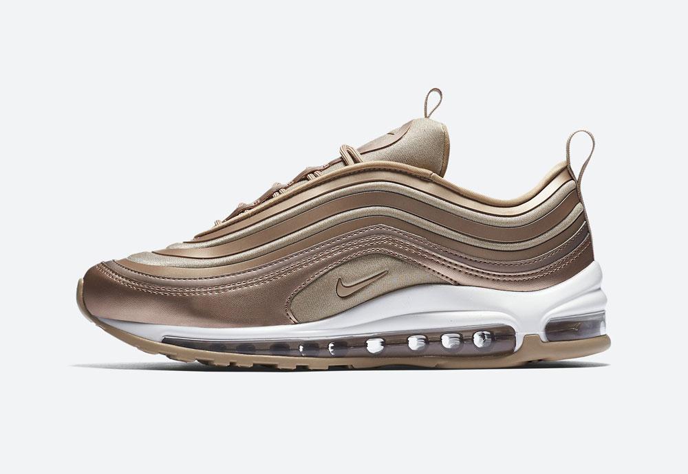 Nike Air Max 97 Ultra '17 Metallic — dámské boty — tenisky — metalické — bronzové — women's metallic red bronze sneakers