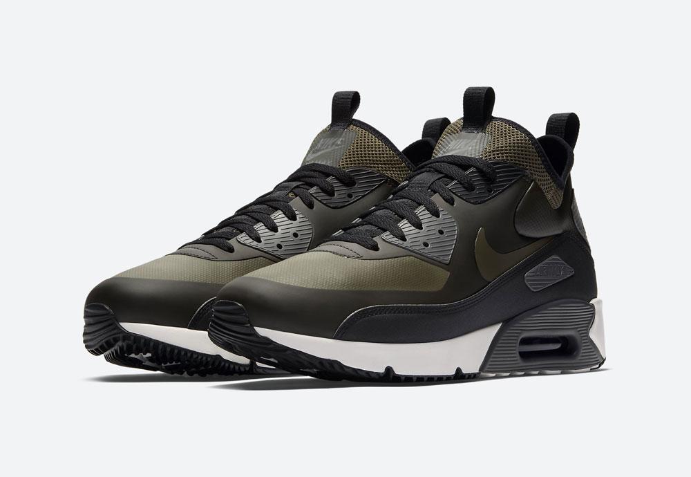 Nike Air Max 90 Ultra Mid Winter — pánské zimní boty — olivově zelené, černé — tenisky — Airmaxy — men's winter sneakers — olive green, black