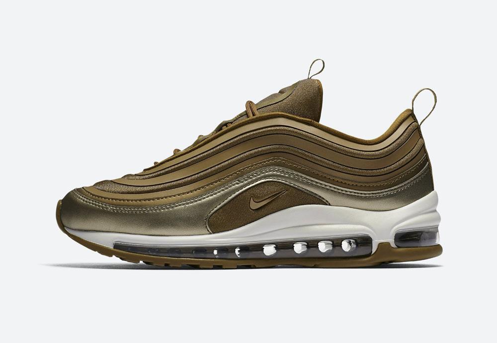 Nike Air Max 97 Ultra '17 Metallic — dámské boty — tenisky — metalické — hnědo-zelené — women's metallic mahogany sneakers