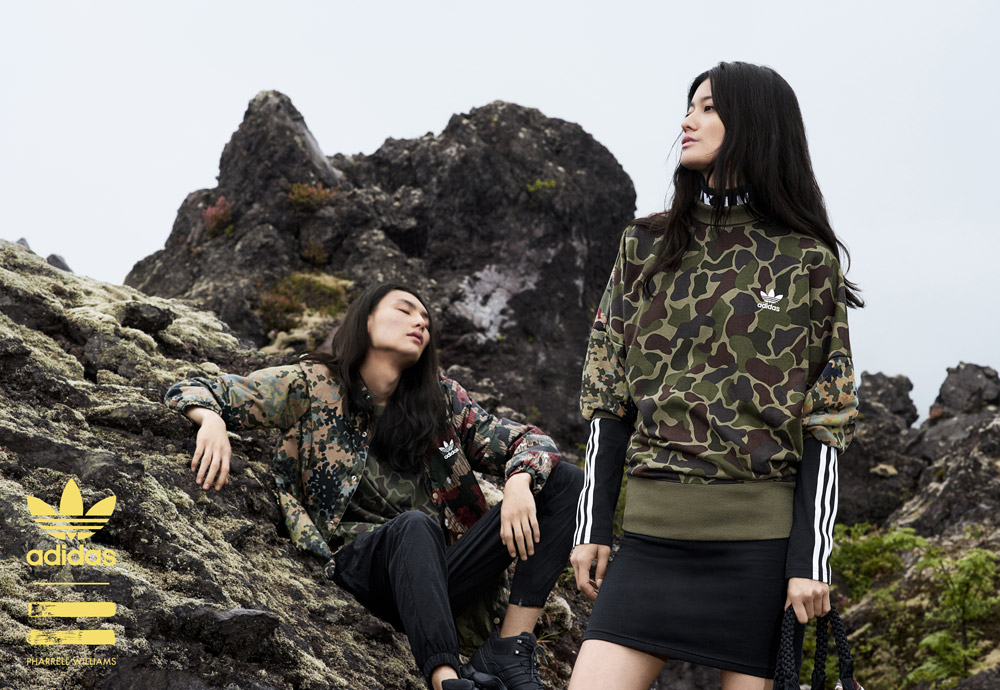 adidas Originals — Pharrell Williams Hu Hiking — pánská maskáčová bunda — dámská maskáčová mikina