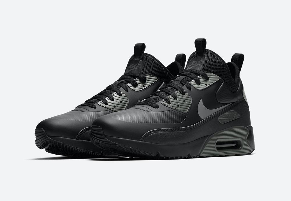 Nike Air Max 90 Ultra Mid Winter — pánské zimní boty — černé, šedé — tenisky — Airmaxy — men's winter sneakers — black, grey
